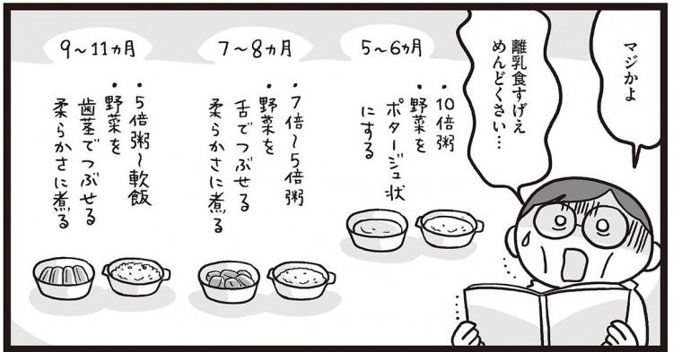 日本ではまだ珍しい「子供の離乳食を作るお父さん」であるノダDさん  ©水谷さるころ/幻冬舎